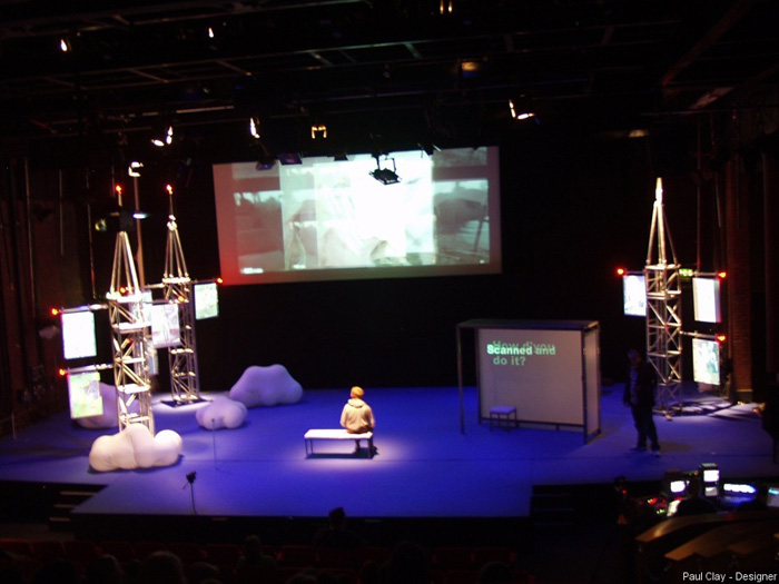 Paul Clay's Set Design, Lighting Design, and Video Design, for the Contact Theatre UK Production entitled Perfect, Full stage view, from the Paul Clay Design website.