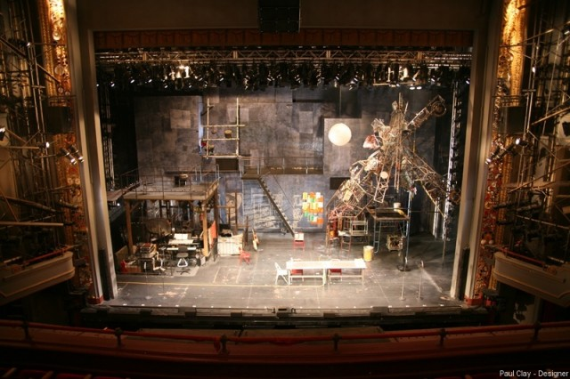 Paul Clay's Set Design, and Projections Design, for the Broadway Production of RENT, full stage view, from the Paul Clay Design website.